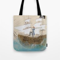 pirate ship Tote Bags featuring Pirate by Polina Kovaleva