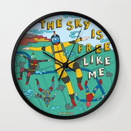 Skydive in the sky Wall Clock