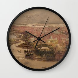 Vintage Pictorial Map of Philadelphia PA (1875) Wall Clock
