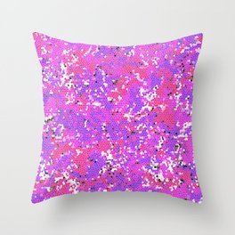 Magenta Squashed Frog in a Sea of Hot Pink, Mauve and Purple Stained Glass Effect Abstract Art Throw Pillow