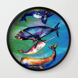 Whale Pyramid #3 - Watercolor Whales Wall Clock