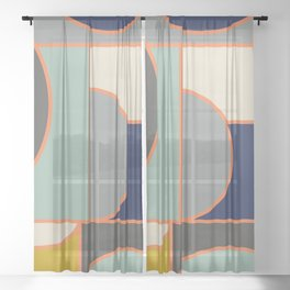Colorful Geometric Cubism Design Sheer Curtain