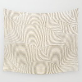 Circular Gold Plastered White Wall Tapestry