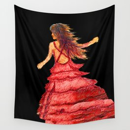 Mysterious Lady in Red Wall Tapestry