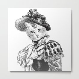 Pussycat Portrait   2 of 2   The Owl and the Pussycat Set   Anthropomorphic Cat   Black and White   Metal Print
