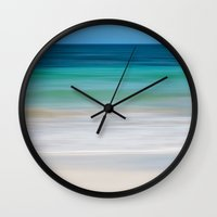 clear Wall Clocks featuring SEA ESCAPE by Catspaws