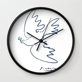 Pablo Picasso Dove Of Peace In Blue 1949 Artwork Reproduction Wall Clock