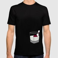Hey, careful, man, there's a beverage here!  Black MEDIUM Mens Fitted Tee