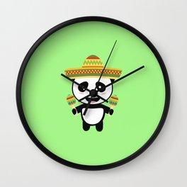 Mexican Panda Fiesta T-Shirt for all Ages Dotqm Wall Clock