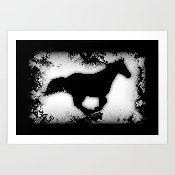 Western-look Galloping Horse Silhouette Art Print