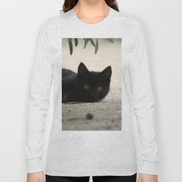 Black Kitten Playing with Olives Long Sleeve T-shirt