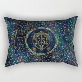 Leo Zodiac Gold Abalone on Constellation Rectangular Pillow