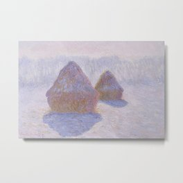 Haystacks, Effect of Snow and Sun by Claude Monet Metal Print