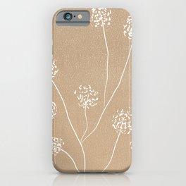Dandelions flowers illustration on beige kraft iPhone Case