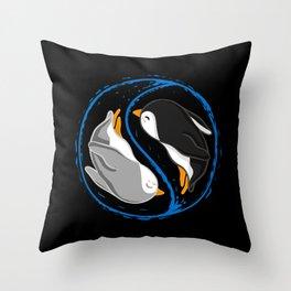 Yin and Yang Penguins Throw Pillow