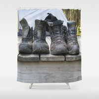 hiking Shower Curtains featuring Hiking with Boots by Sage Raine