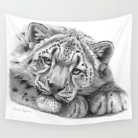 snow leopard Wall Tapestries featuring Snow Leopard Cub G105 by S-Schukina