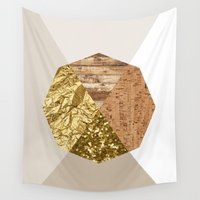 polygon Wall Tapestries featuring Beige polygon by Trine Sofie