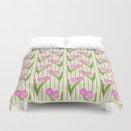 Retro. Pink tulips on a green striped background . Duvet Cover