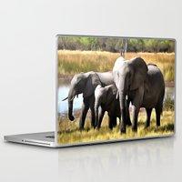 elephants Laptop & iPad Skins featuring Elephants by Regan's World