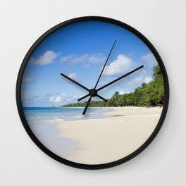 Sandy Beach of Caribbean Island Wall Clock