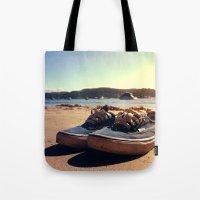 vans Tote Bags featuring Beached Vans by Zakvdboom Designs