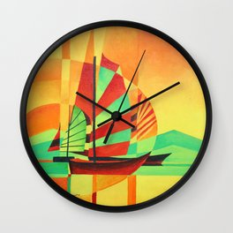 Chinese Junks Sail to Shore  Wall Clock