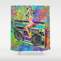 radio Shower Curtains featuring Radio Rock by JuniperFawkes