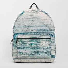 Sea Foam Blue Acrylic Textured Painting Backpack