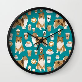 Rough Collie coffee pet portrait dog art by pet friendly latte coffee dog lover gifts Wall Clock