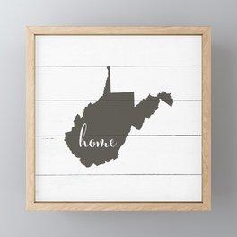 West Virginia is Home - Charcoal on White Wood Framed Mini Art Print