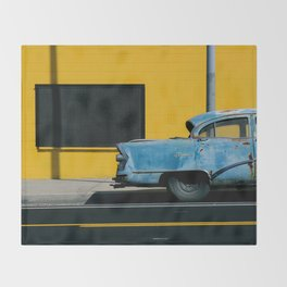 Rusty Blue Car and Yellow Wall Throw Blanket
