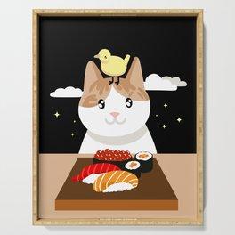 Sushi Eating Cat & Bird Serving Tray
