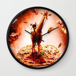 Outer Space Pug Riding Giraffe Unicorn - Pizza Wall Clock
