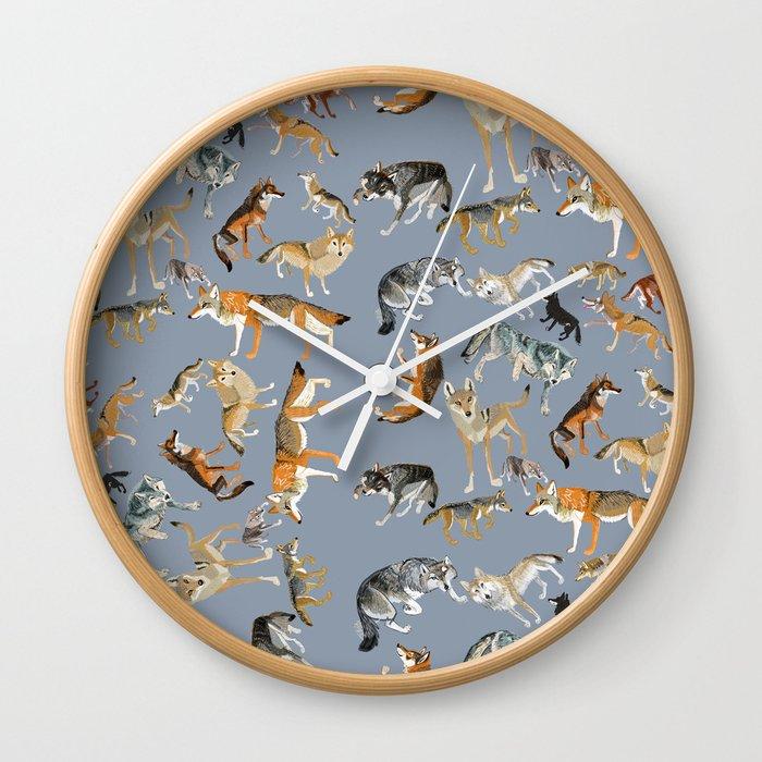 Eurasian wolves pattern Wall Clock