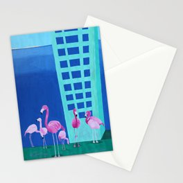 Flamingo Pop Art Painting Stationery Cards