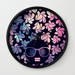 Afro Diva Mauve Teal Galaxy Wall Clock