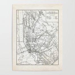 New York City Rapid Transit System Map Poster