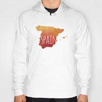 spain Hoodies featuring Spain by Stephanie Wittenburg