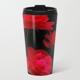 Red roses on black background Metal Travel Mug