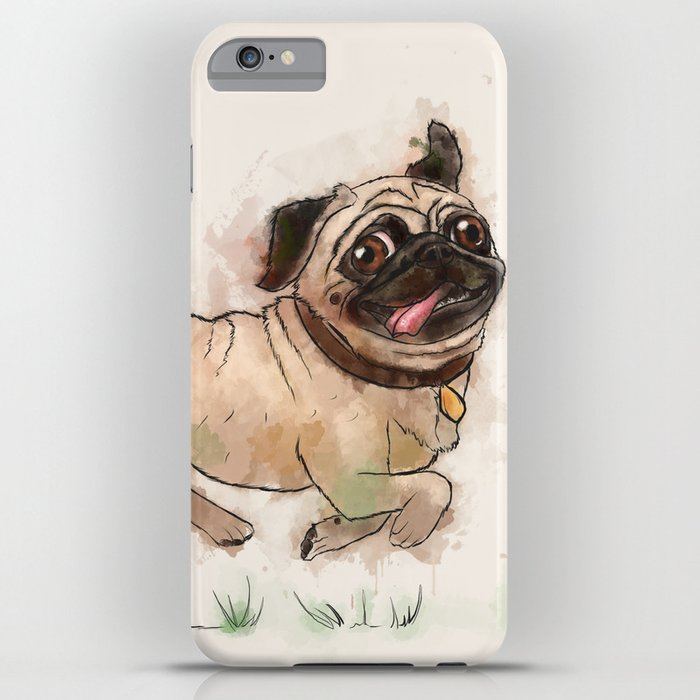 the furminator pug watercolor like art iphone case