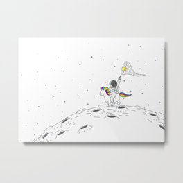 Cute Astronaut riding an unicorn on the moon with craters catching stars with a net Metal Print