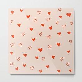 Dotty Hearts Metal Print