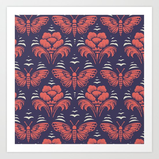 butterfly damask (stark) Art Print