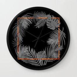 TROPICAL SQUARE COPPER BLACK AND GRAY Wall Clock