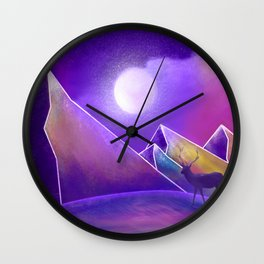 Deer in the Galaxy of Mountains Wall Clock