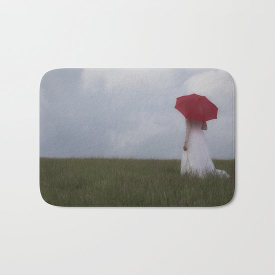 Red and White Bath Mat
