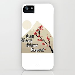 Eat Sleep Anime Repeat Japanese Cherry Blossom Mountains iPhone Case