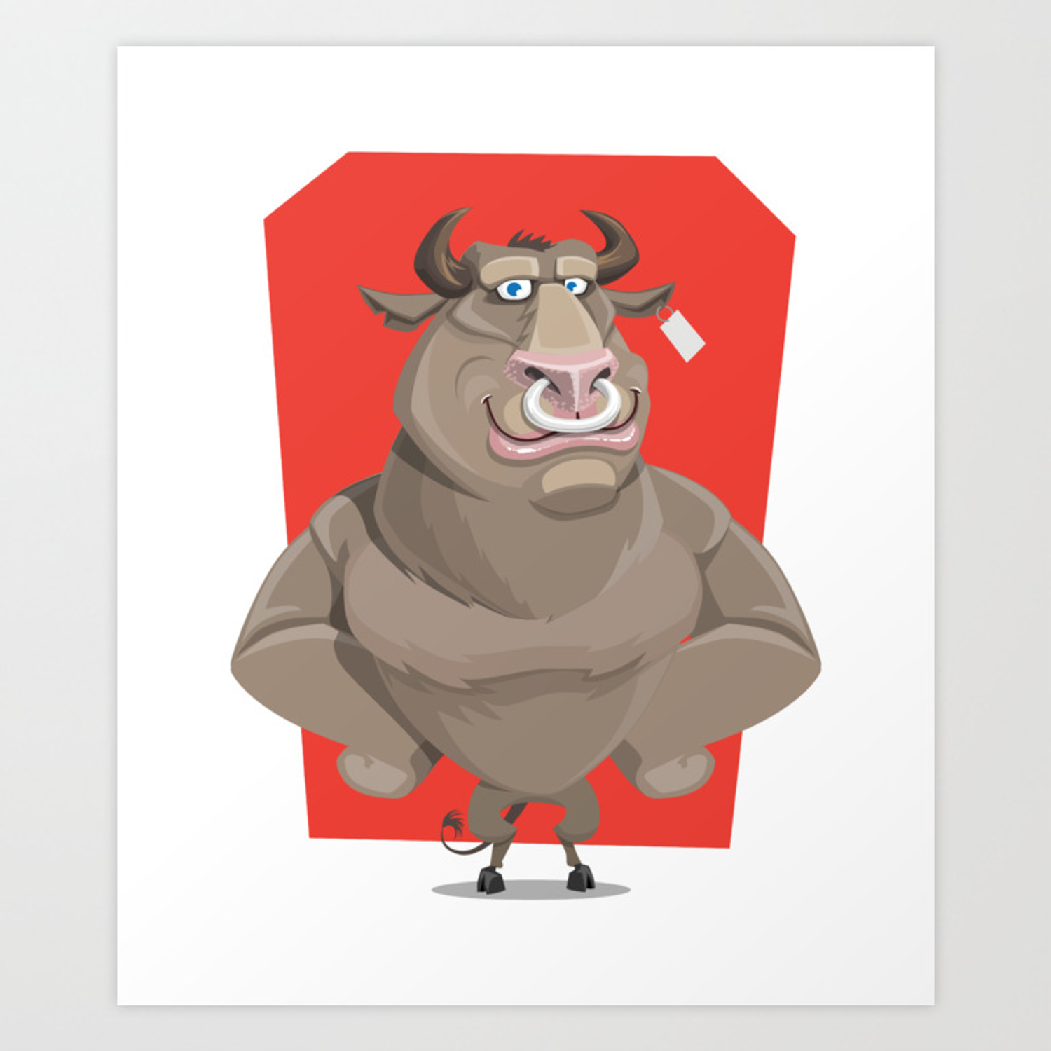 Angry Bull With Nose Piercing Vector Artwork Art Print By