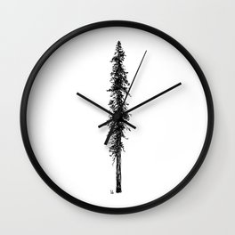Love in the forest - a couple and their dog under a solitary, towering Douglas Fir tree Wall Clock